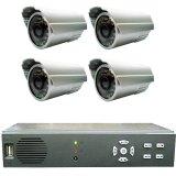屋外型防犯カメラ4台+HDDレコーダーセット