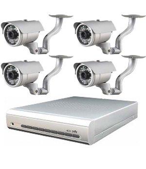 画像1: 屋外型防犯カメラ4台+HDDレコーダーセット